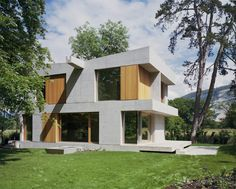 Image 1 of 30 from gallery of Villa Sandmeier / Lacroix Chessex Architects. Courtesy of Lacroix Chessex Architects Concrete Architecture, Concrete Facade, Contemporary Architecture, Architecture Details, Interior Architecture, Villas, Table Beton, Concrete Structure, Small Buildings