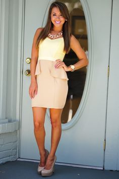 Classy Never Looked So Good Dress: Yellow/Tan