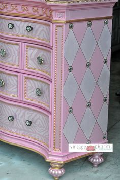 A DIY Disney princess dresser makeover using the Harlequin stencil pattern. http://www.cuttingedgestencils.com/harlequin-stencil-pattern.html #funkyfurniture #stencilingpetterns