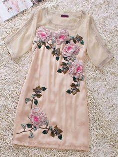 Pink Round Neck Short Sleeve Rose Print Silk Dress