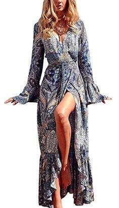 Newlyblouw 2019 New Women Long Boho Floral Print Dress Summer Casual Fashino Half Sleeve Loose Beach Party Maxi Dress