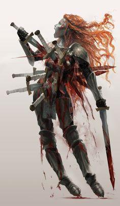 ArtStation - Nine of Swords, Christos Martinis Dark Fantasy Art, Fantasy Girl, Dark Art, Fantasy Monster, Monster Art, Dnd Characters, Fantasy Characters, Character Art, Character Design