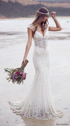 anna campbell 2015 bridal dresse lace strap v neckline embellished bodice beautiful trumpet mermaid wedding dress ebony