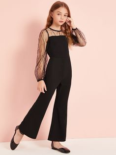 Girls Mesh Yoke Flare Leg Jumpsuit Women Clothes For Cheap, Collections, Styles Perfectly Fit You, Never Miss It! Dresses Kids Girl, Cute Girl Outfits, Kids Outfits Girls, Pretty Outfits, Cute Dresses, Preteen Girls Fashion, Girls Fashion Clothes, Teen Fashion Outfits, Girl Fashion