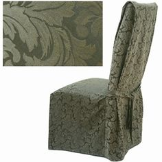Damask Olive Dining Chair Cover