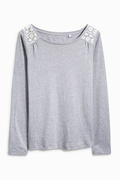 Buy Lace Insert Long Sleeve T-Shirt from the Next UK online shop