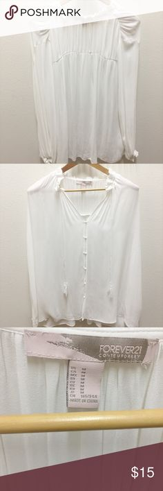 Forever21 blouse Size M, material chiffon, button down, only used once, excellent condition💕 Forever 21 Tops Blouses