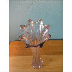 "Vintage Fostoria Heirloom Art Glass Stretch Swung VASE Rare Clear ""Opalescent"" on eBid United States"