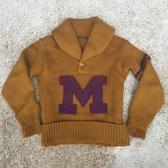 Vtg 20s Shawl Collar Letterman Sweater - closed at US $360.55 on 18Mar16