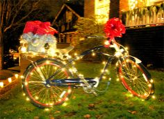Bicycle with Christmas lights