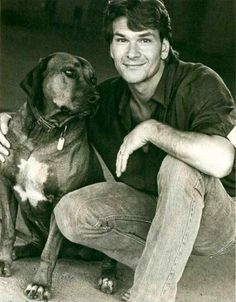 Patrick Swayze, male, actor, celeb, dog, Dirty Dancing, dear memories, r.i.p., jeans, hand, face, guy, sexy, dancer, gorgeous, hot, love him, cool, portrait, photograph, photo b/w.