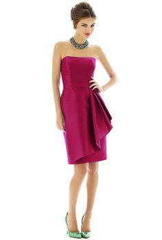 Brides: Alfred Sung. Style D592, strapless dupioni bridesmaid dress in sangria, $196, Alfred Sung available at Weddington Way