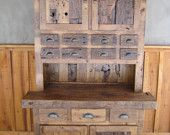 100-150 Year Old Reclaimed Wormy Chestnut Step Back Cupboard with Hand Hewn Doors & Drawers