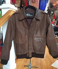 1980's  1990's Vintage Brown Leather Bomber Jacket