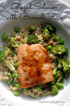 Glazed Salmon with broccoli and edamame rice. Delicious healthy recipe the whole family will love. Mymommystyle.com