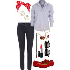 Smart casual rockabilly by mummy-style on Polyvore featuring Frank & Eileen, Great Plains, Kate Spade, Material Girl, Witchery and MAC Cosmetics