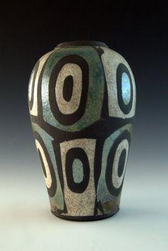 Raku Pottery - Medium Vase - Bullseye Pattern