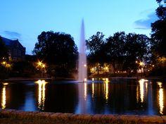 Mirror Lake at night. Ohio State University.