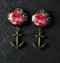 "Fashion Damask Rose Girly Plugs with Anchors - 3/4"" 7/8"", 1"""