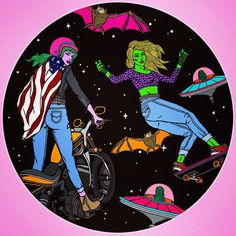 #TBT to when I drew some more badass babes for craft beer labels! #motorcycle #skate #alien #babes #bats #ufo #art #illustration
