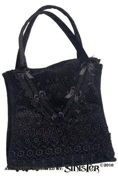 Black Lace and Velvet Gothic Handbag by Sinister | Gothic