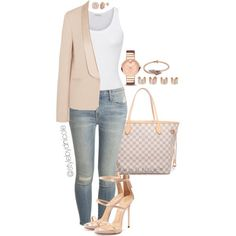 Untitled #3193 by stylebydnicole on Polyvore featuring American Vintage, Vanessa Bruno, Current/Elliott, Giuseppe Zanotti, Louis Vuitton, Movado, Maison Margiela, Katie Rowland, women's clothing and women's fashion