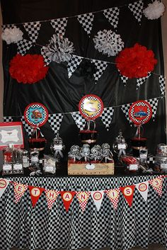Very Cute Table Design--Also has a link to Race Car Party Supplies