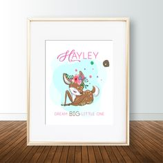 Personalized name / Custom Cute Deer with flowers on head poster / wall art - Be Unique woodlands de Flower On Head, Deer Wall Art, Safari Theme, Nursery Prints, Poster Wall, Digital Prints, My Etsy Shop, Artwork, Cute