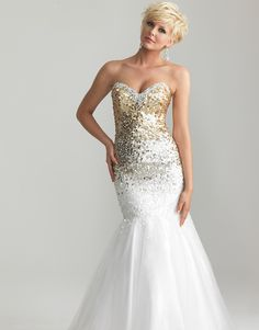 If this had silver sequins... itd be perfect!!       -Gold & White Ombre Sequin & Tulle Sweetheart Mermaid Prom Gown - Unique Vintage - Cocktail, Pinup, Holiday & Prom Dresses.
