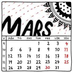 Mars 2018. Square illustrated wall calendar by Jytte Hviid on etsy. Svensk almanacka.