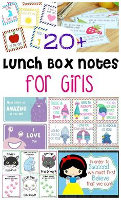 These are the cutest sets of lunchbox notes for girls. These will help your little girl feel special. Print them today! Your little girl will feel so special when she sees these notes in her lunch box, bag, purse, or just in her room Lunchbox Notes For Kids, Lunch Notes, Kids Notes, Craft Activities For Kids, Toddler Activities, Learning Activities, Alphabet Activities, Activity Ideas, Preschool Ideas