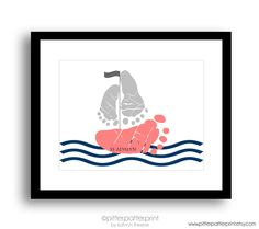 Navy Coral Nautical Nursery Art, Sailboat Baby Footprint Art Print, Baby Girl Nursery, Personalized Baby Girl Nursery, Girls Room Wall Art by PitterPatterPrint on Etsy https://www.etsy.com/listing/229139172/navy-coral-nautical-nursery-art-sailboat