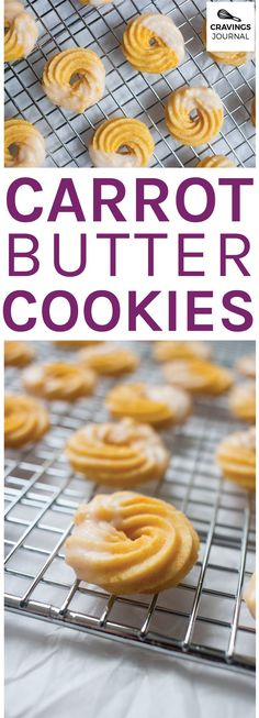 Buttery cookies with an amazing carrot flavour and a delicate glaze Carrot Cookies, Buttery Cookies, Vanilla Essence, Dessert Recipes, Desserts, Biscotti, Doughnut, Glaze, Cravings