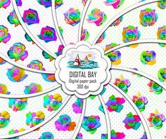 MULTI COLORED ROSES  Digital paper pack  Instant by DigitalBay