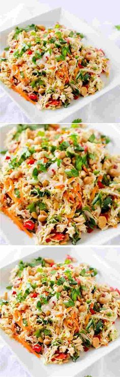 THAI CHICKEN SALAD WITH GINGER LIME DRESSING - chicken, ginger, healthy, lime, recipes, salad, sauce