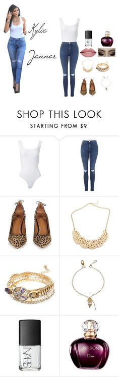 """""""Kylie Jenner"""" by isabella-michelle ❤ liked on Polyvore featuring 7 For All Mankind, Alaïa, Topshop, Aquazzura, River Island, Loshy and NARS Cosmetics"""