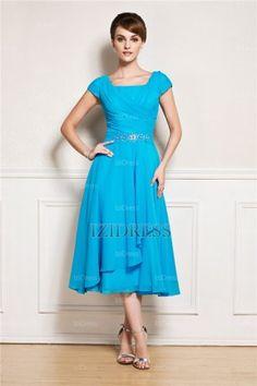 A-Line/Princess Square Tea-length Chiffon Mother Of The Bride Dress - IZIDRESS.com at IZIDRESS.com