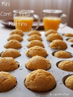 Mini Corn and Feta Muffins. Mini Corn and Feta Muffins (in Greek with translator) Greek Recipes, My Recipes, Baking Recipes, Healthy Recipes, Recipies, Savoury Baking, Bread Baking, Food Inspiration, Quiche