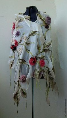 scarf with felted flowers~~beautiful!
