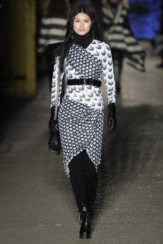 A belted wrap dress over leggings and a turtleneck - and GLOVES!!!!!