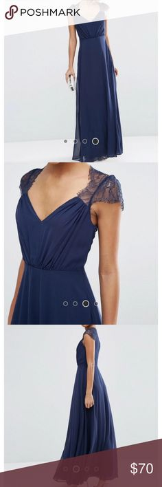 Asos Kate Lade Maxi Dress in Navy Blue Like new condition. Worn once. Altered for length- 61 inches shoulder to hem and true to size 6. Tags are cut. Perfect for a formal event, dance or wedding! ASOS Dresses Maxi