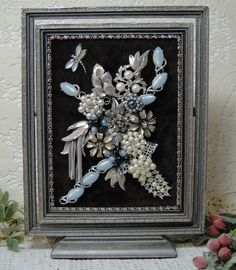 Framed Jewelry Art Vintage Jewelry Picture Blue by VintageRedo