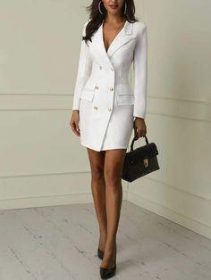 Blazer Dress for Women . Luxury Blazer Dress for Women . Stone Belted Blazer Dress Autumn Wardrobe In 2019 Designer Work Dresses, Dresses For Work, Trend Fashion, Look Fashion, Womens Fashion, Ladies Fashion, Feminine Fashion, Fashion Night, High Fashion