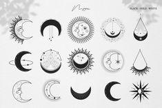 Cute Tiny Tattoos, Mini Tattoos, Small Tattoos, Moon Icon, Paar Tattoo, Star Illustration, Illustrations, Star Magic, Moon Magic