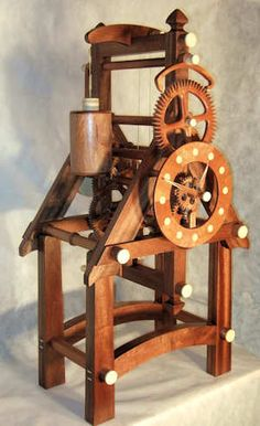 Hardwood Clocks - Welcome Wooden Gear Clock, Wooden Gears, Wood Clocks, Wood Carving Art, Wood Art, Beginner Woodworking Projects, Woodworking Plans, Kinetic Art, Wood Plans