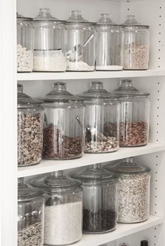 We're currently working on getting all glass cannisters for laundry, bath, and most definitely for the pantry. We're tossing out all boxes, bags, and plastic that attract those nasty bugs, insects and moths. For those that do not know, dry porus foods absorb the flavor of plastic when stored in plastic containers, your food could be altered, this includes your pet foods/treats.