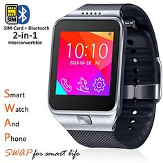 Indigi Universal Smart Watch  Phone Bluetooth iPhone Android GSM Unlocked ATT Tmobile Straight Talk Silver *** Click affiliate link Amazon.com on image for more details.