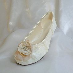 Ivory Lacy and Flowery Ballet flat  has a shabby by tlccreationsuk, $275.00
