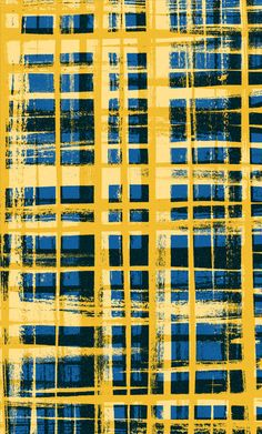 Blue and yellow hand painted and digital brushstroke pattern - Sarah Bagshaw