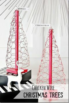 Easy DIY project for Christmas!  Trees made from chicken wire!  thistlewoodfarms.com